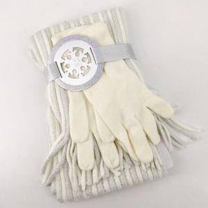 NWT Gloves Scarf Set NY & Co Cream White Ivory